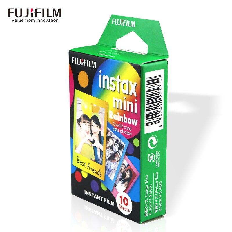 Galleria fotografica Instax Mini 8 9 7s 25 50s 90 Film 10 Sheet Fujifilm Paper Photo Instant 3 Inch Wide Mini Original Fuji Camera Cam Rainbow