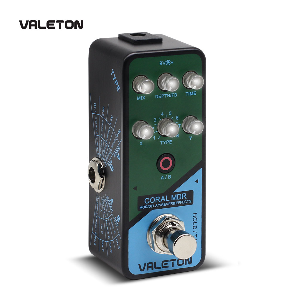 Valeton Multi Effects Guitar Pedal Coral MDR of Reverb Delay Chorus Phaser Vibrato Tremolo Flanger Digital