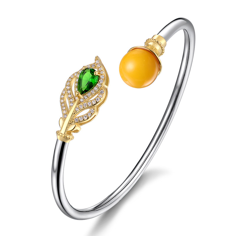 Pure Silver Beeswax Peacock Ethnic Bangle s925 pure silver personality female models new beeswax