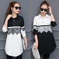 2017 nueva primavera de la moda más tamaño suelta de manga larga del remiendo del cordón medio-largo blanco y negro camisa de algodón mujer blusa de las mujeres tops