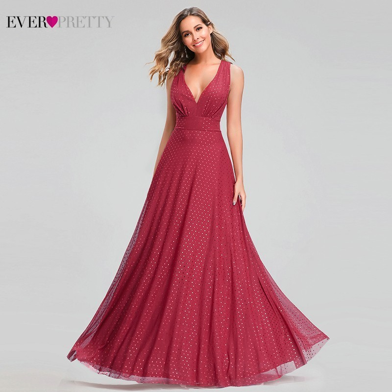 Ever Pretty Sexy Red Prom Dresses V-Neck Sleeveless Elegant Dot Evening Party Gowns For Womens EZ07508RD Vestidos Gala Largos