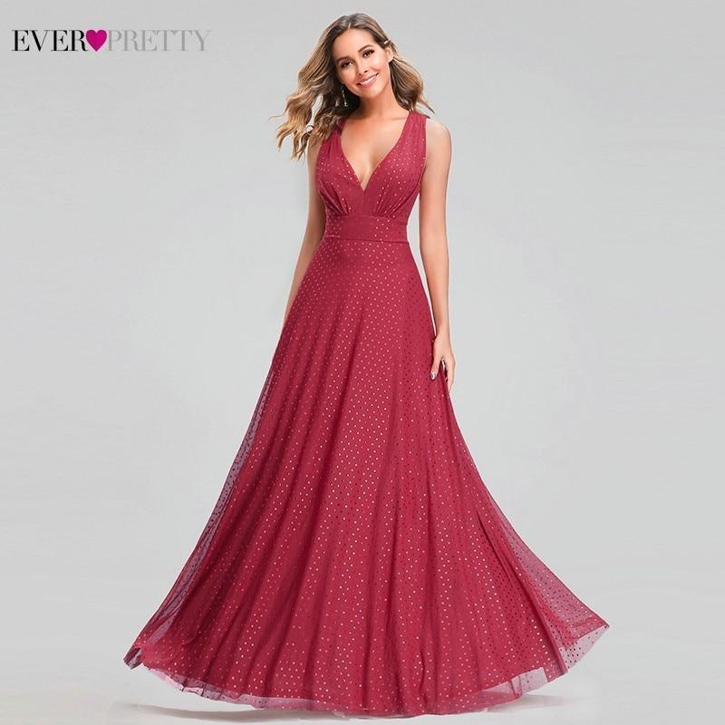 Ever Pretty Sexy Red Prom Dresses V-Neck Sleeveless Elegant Dot Evening Party Gowns For Womens EZ07508RD Vestidos Gala Largos