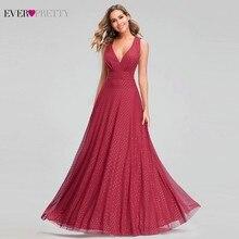 Sempre muito sexy vermelho vestidos de baile com decote em v sem mangas elegante dot noite vestidos de festa para as mulheres ez07508rd vestidos de gala largos