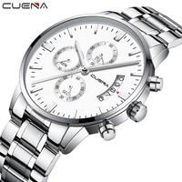 Top Brand Luxury CUENA Full Steel Watch Men Business Chronograph Quartz Wristwatch Military Clock Waterproof Relogio