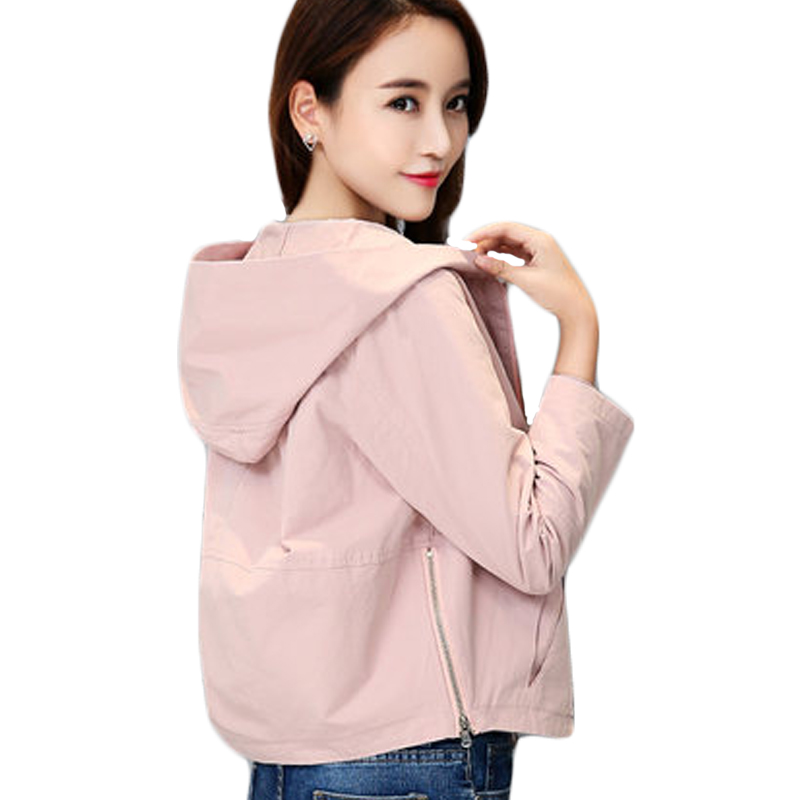 2018 New Spring Autumn Short Hooded Coat Outerwear Loose Zippers Long Sleeve   Basic     Jacket   Girl Coat High Quality Plus Size XH235