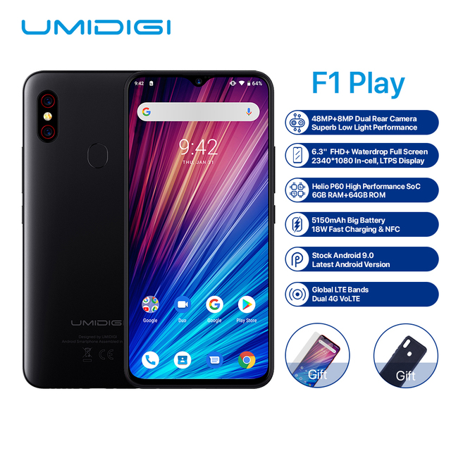 "UMIDIGI F1 Play Android 9.0 Phone 6.3"" FHD+ 6GB 64GB Helio P60 Fast Charge NFC Dual 4G 16MP Fingerprint Unlock Mobile Phone"
