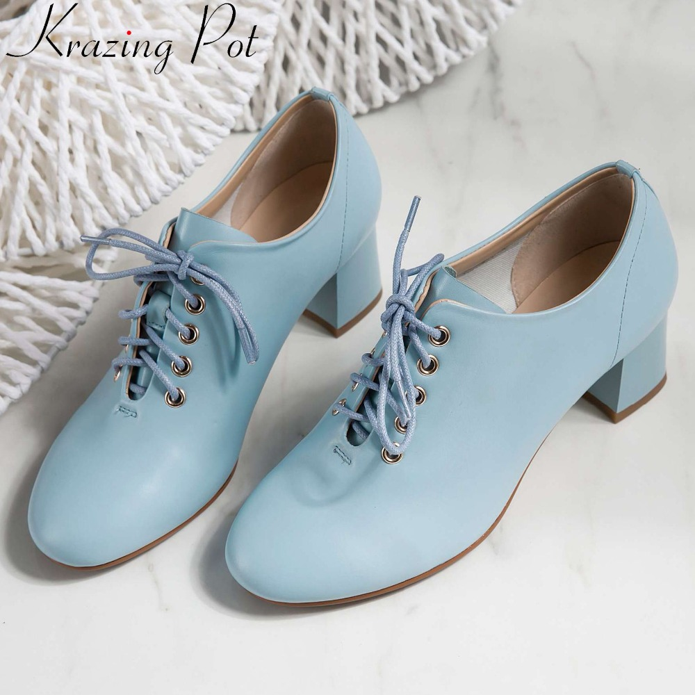 Krazing Pot woman brand concise style pumps chunky med heel lace up beauty lady cow leather