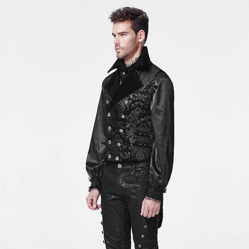 69a338e6 ... PUNK RAVE Gothic Cotton Man Waistcoat Corduroy Crack Imitation Leather  Retro Royal Dark Printing Vest Party ...