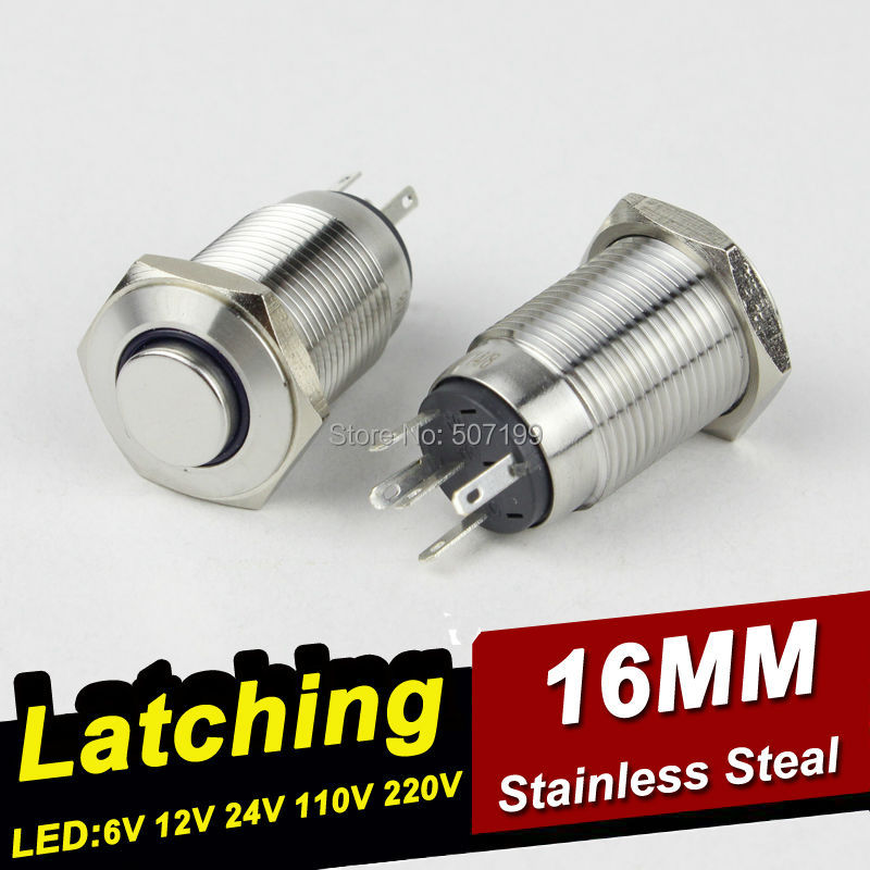 10pcs/lot HABOO 16mm hign head with led switch stainless steal 1NO+1NC on-off metal push button switch 12V