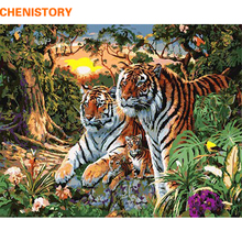 Chenistory familly tigres animales bricolaje pintura by números moderno arte de la pared pintura de la lona decoración para regalo único arte