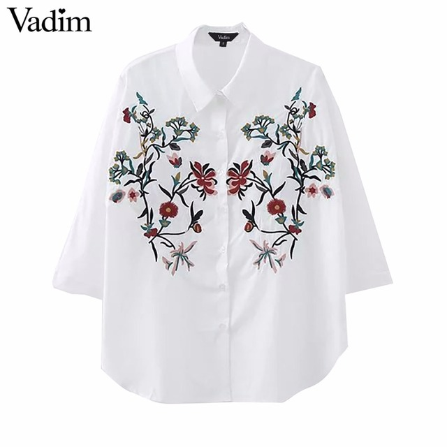 1232d58ab18 Женские Элегантные Цветочная вышивка свободные блузки Длинные рукава белые  рубашки женские офисные одежда Топы Blusas LT1574