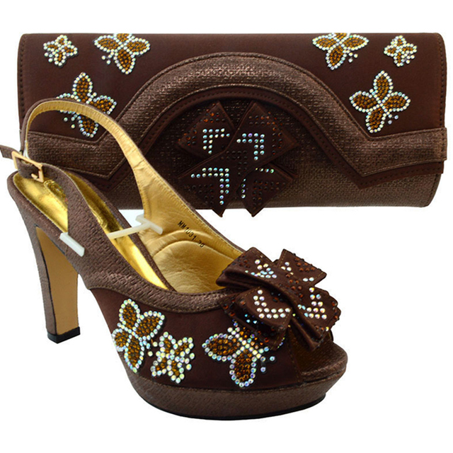 2c7ce76f4849 Latest Coffee Color Italian Party Ladies Shoe and Bag Set Decorated with  Rhinestone African Women Shoes and Bag Set for Wedding