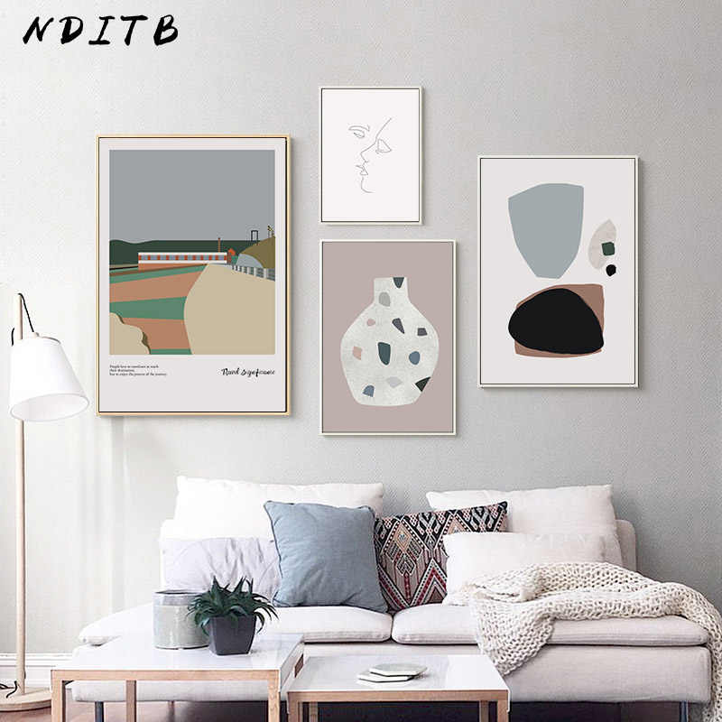 Geometric Canvas Poster Abstract Shape Wall Art Print Painting Minimalist Nordic Style Decorative Picture Living Room Decor