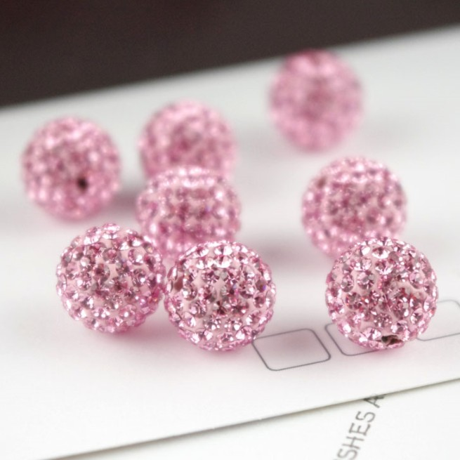 10Pcs Czech Crystal Rhinestone Pave Clay Round Disco Ball Spacer Beads 10MM DIY