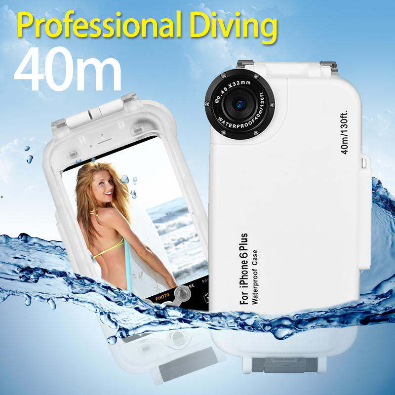 ФОТО Meikon High Quality 40m Waterproof  Diving Underwater Photography Housing Case For iphone 6plus 6splus 130ft Water Resistant