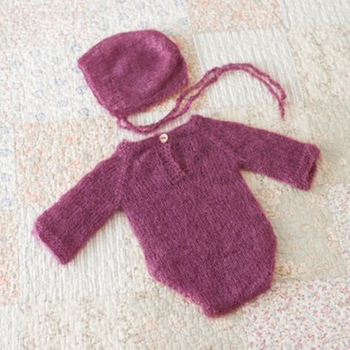 Newborn romper bonnet Full Set knit mohair romper Soft hat Outfit Set baby boy girl Long Sleeve romper protography prop фото