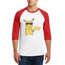 2019 Brand Design Men T Shirt New Fashion Pokemon Printed T-Shirt O-Neck Cotton Tops Three Quarter Raglan Sleeve Mens Tee Shirts
