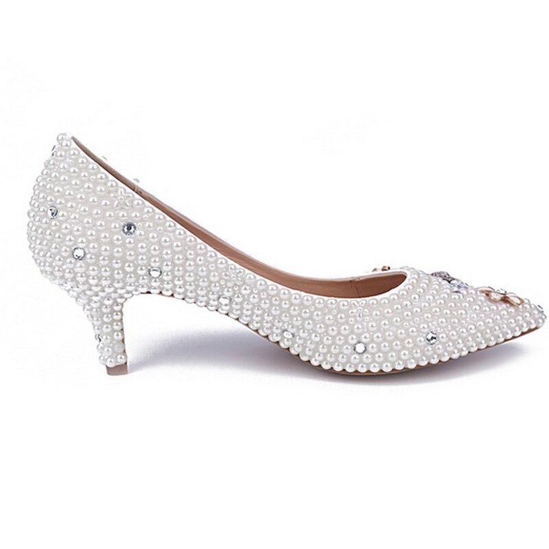 Mince 6cm Strass Mariage Mariée Pointus La De Bal Mère Heels Belle Bas Blanc Talon Chaussures Orteils Fête Perle White IFpRxTT
