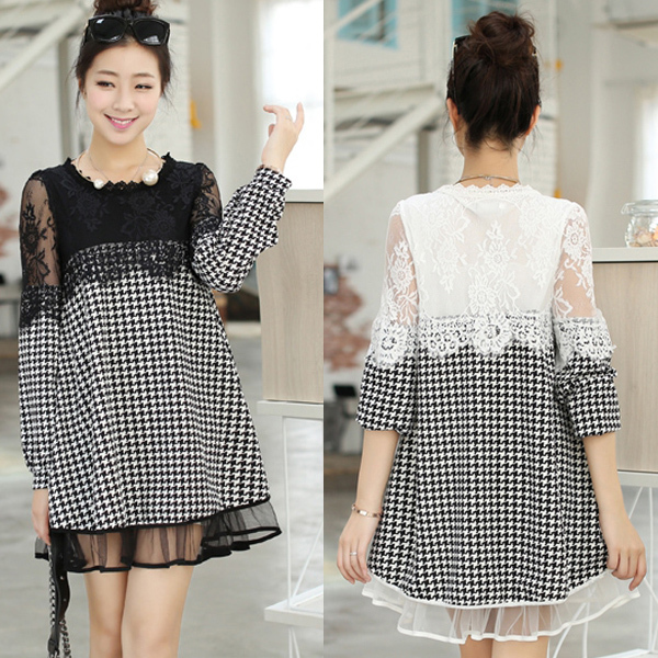 elegant lace houndstooth maternity dresses casual fall dress spring