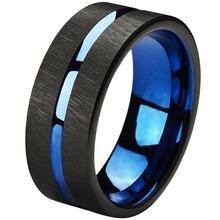 Вольфрамовые кольца 8 мм обручальные синие с черной линией для