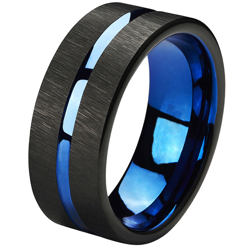 Tungsten Rings 8mm Wedding Band Blue Center Groove Black Line Brushed Couples Engagement ...
