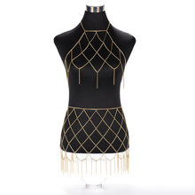 2019 New Sexy Grid Beach Chain Skirt and Necklace Bikini Body Belly Waist Chain Bra Bralette Women Dress Jewelry BC05(China)