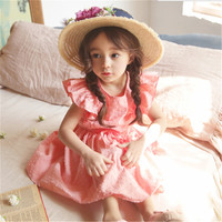 2018 Summer Hurave Baby Girls Embroidered Princess Dress Clothes Children Fly Sleeve Lacing Solid Dress Kids