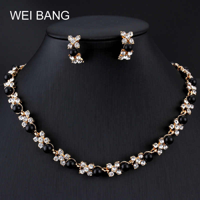 Popular Women Jewelry Sets Pearl Earrings Gold color Necklace Set Rhinestone Gift Jewelry For Party Costume Accessories