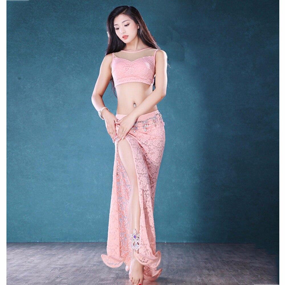Sexy danse du ventre costume pour dames 4 couleur dentelle sans manches origine (jupe + hauts) 2 pièce ensemble femme Bollywood Profession Costumes B027