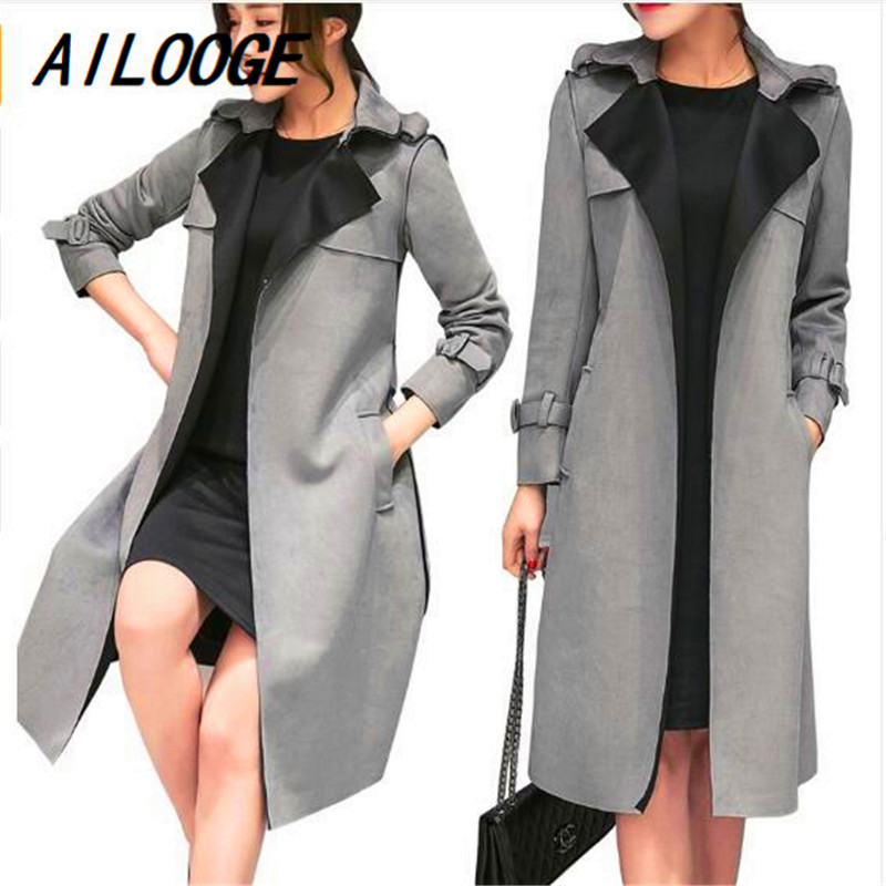 AILOOGE 2018 in spring and Autumn New Korean female coat in the long section of   suede   coat size all-match leisure tide
