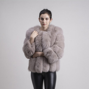 Image 3 - QIUCHEN PJ1819 2020 new arrival FREE SHIPPING women winter real fox fur short coat big fur long sleeve fashion girls jacket