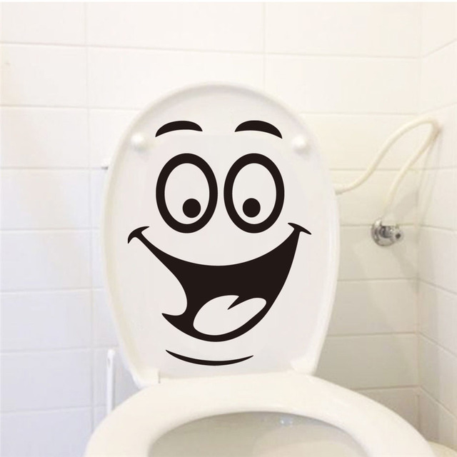 Smile Face Toilet stickers Home Decoration Vinyl Wall Decals Fridge Washing Bathroom Living Sticker Car Gift Waterproof Poster