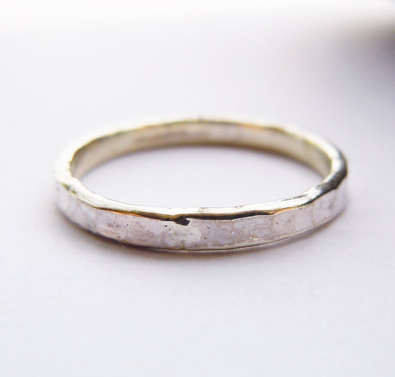 Solid 925Sterling Silver 2mm Hammered Ring цена
