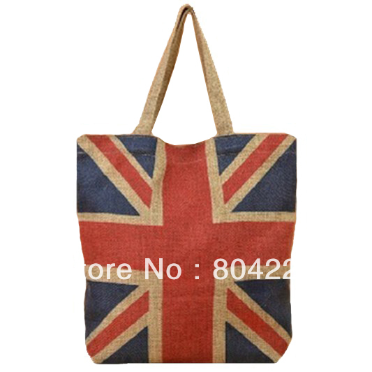 Fashion Silk Linen Bag Uk Flag Design Casual Tote Ping Handbag