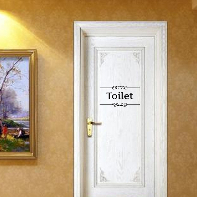 2pcs toilet sign bathroom decor toilet door sticker wall decal decoration quotes wall stickers cafe toilet