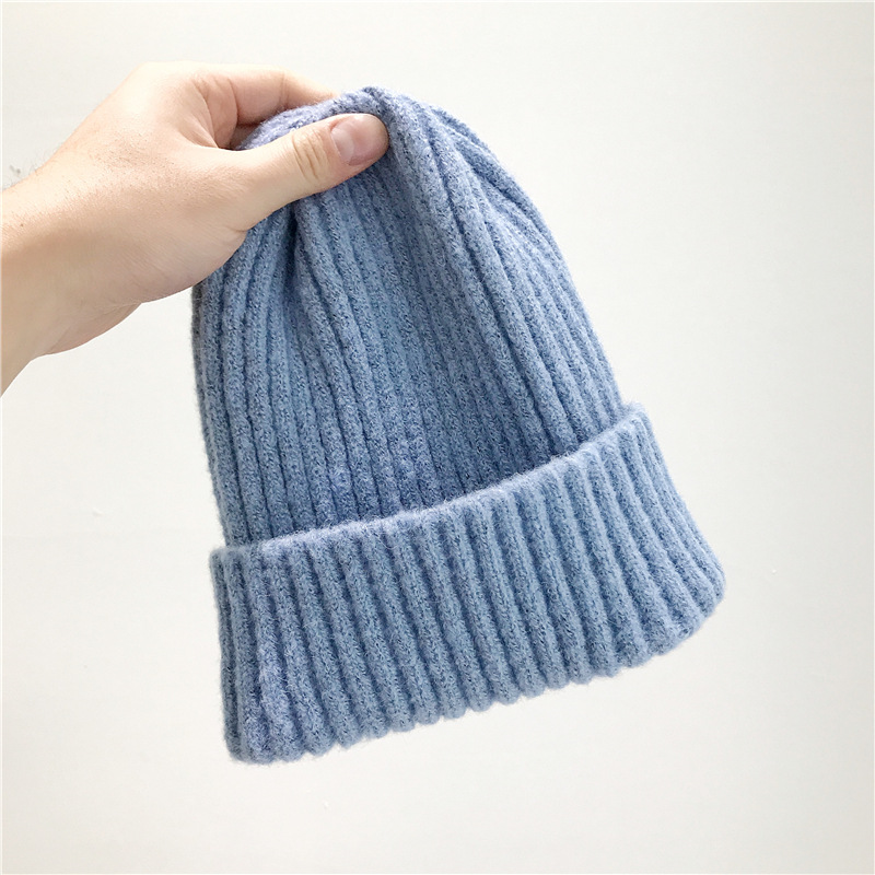 2017 New Winter Hat for Women Cashmere Knitted Beanies Thick Warm Cotton blend Ladies Wool Bonnet Hat Female Beanie Hats black