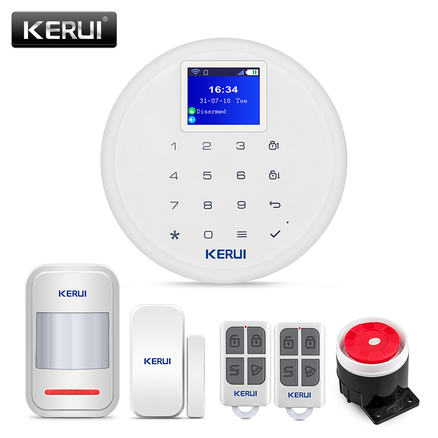 New KERUI W17 EN RU ES DE IT FR Switchable GSM Wifi Alarm System for Home
