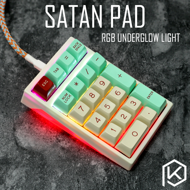 satan pad kc21 numpad 21key Custom Mechanical Keyboard keys Underglow RGB PCB plastic case plate function