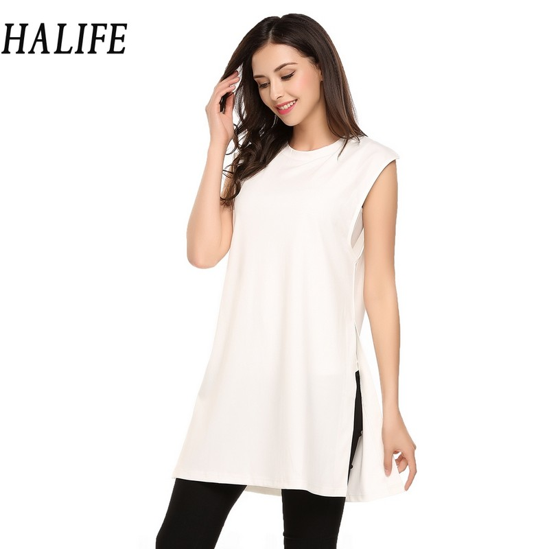 HALIFE Long Top With Side Slit T-Shirt Plus Size Women Clothing Fashion Sleeveless Casual Tunic Tops Clothes Tee Shirt Femme S10