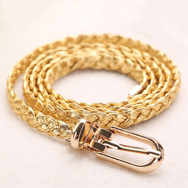 Women Braided PU Leather Narrow Thin Buckle Strap Waist Belt All-Match WaistbandHot! AB68