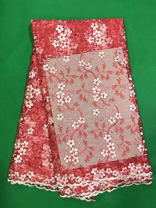 ZY78 En kaliteli Afrika dantel kumaş güzel kırmızı düz renk 2017 fransız tül dantel kumaş 5 yards/adet net düğün için dantel elbise