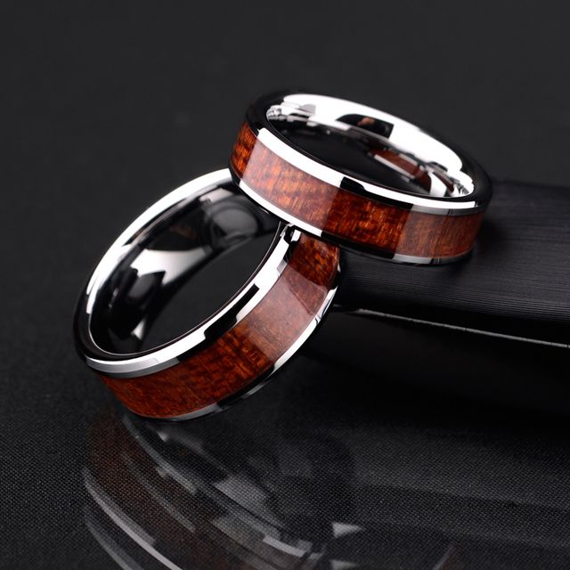 Polished Tungsten Ring With Koa Wood