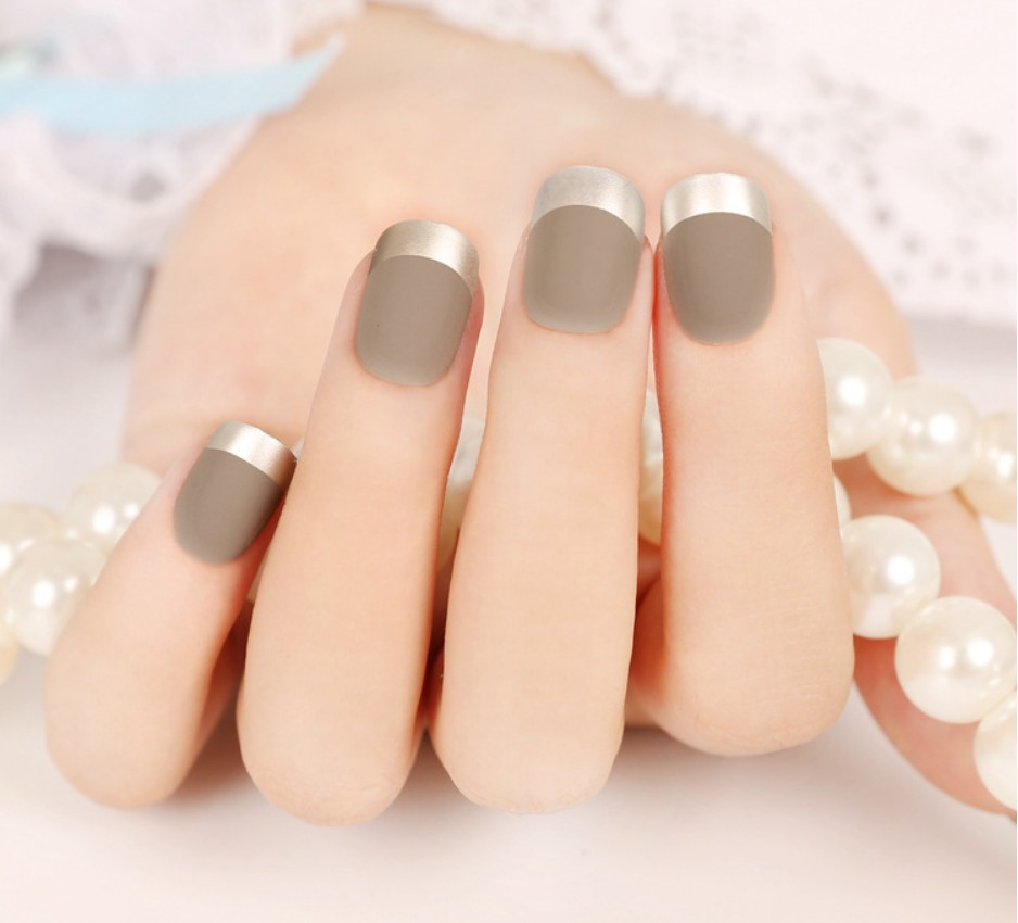 24pcs French Manicure False Nail Art Tips Creative Nail Stickers ...