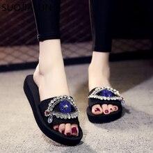 SUOJIALUN Women Shoes Sweet Beach Slippers Summer Woman Fashion Bling Rhinestone Flat Slides Black EVA