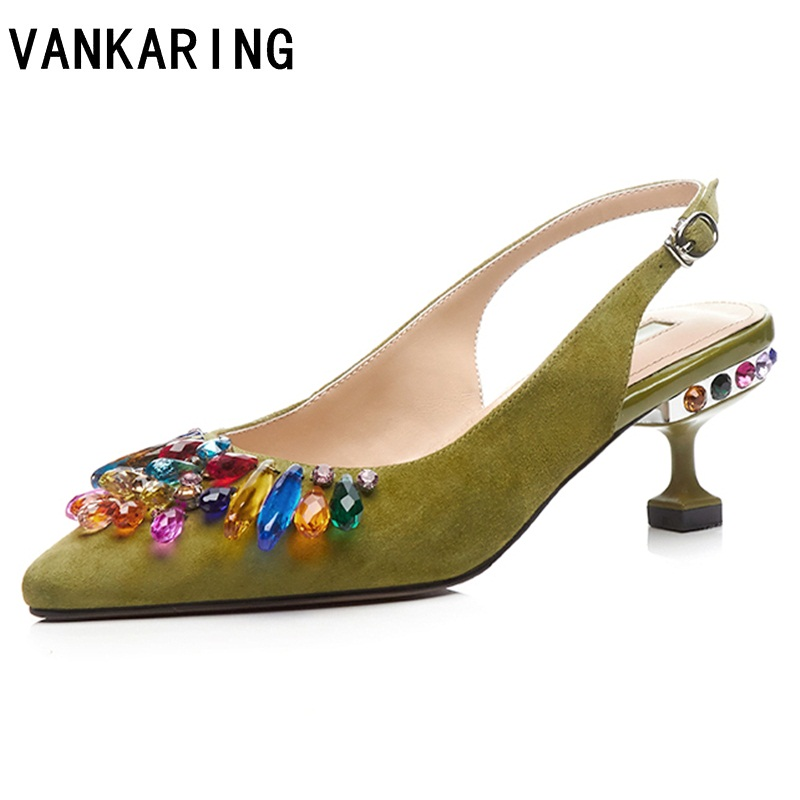 VANKARING  women shoes new spring summer 2018 fashion sexy thin high heel pointed toe rhinestone shoes woman dress party sandals 2017 new sexy pointed toe high heel women pumps genuine leather spring summer shoes woman fashion dress party casual shoes pumps