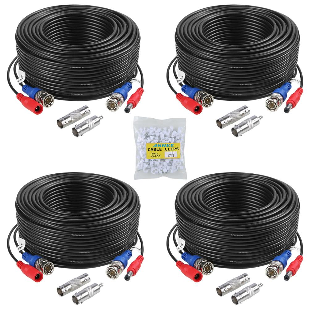 ANNKE 4 Pcs Packed White/Black Color 30M /100 Feet BNC DC Plug Video Power Cable CCTV Camera DVR Security Surveillance System
