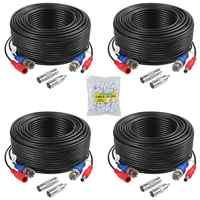 ANNKE 4 pcs Packed White/Black color 30M /100 Feet BNC DC Plug Video Power Cable CCTV Camera DVR Security Surveillance System