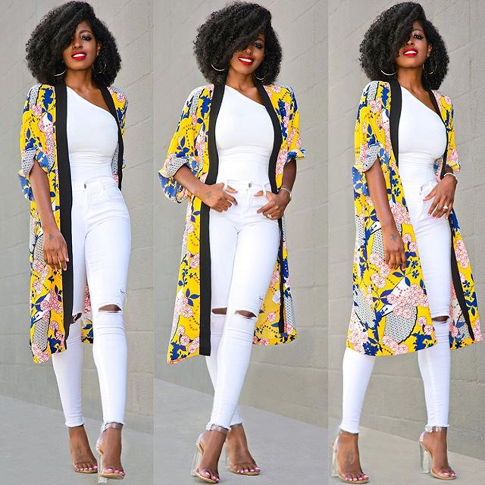Indian Dress Sari New Product Sell Like Cakes The European And American Fashion 7 Minutes Of Sleeve Hd Printed Cardigan Coat