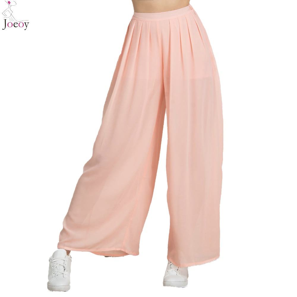 7f18958a4df7f Women Pink High Waist Pleated Palazzo Pants 2016 Spring New Chiffon Solid Loose  Zipper Fly Plain Plus Size Summer Capris-in Pants   Capris from Women s ...