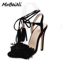 Newsummer Women High Heels Sandals Shoes Woman Ladies Party Wedding Dress Fashion Tassel Lace Up Stilettos